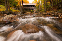 Kancamagus Highway, White Mountains, New Hampshire, Autumn, Bright, Colorful, Leaves, Fall Season, Road, Trees, Bridge, Flume Covered Bridge, Creek, Water, Rush, Cascades