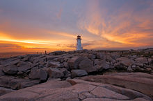 Peggy's Cove, Lighthouse, Nova Scotia, Canada, Atlantic, Ocean, Coast, Sunset, Dramatic Light, Bernard Chen, Timescapes