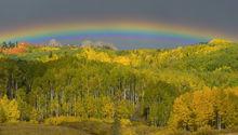 Colorado, Kebler Pass, aspen, autumn, fall, our planet, clouds, bernard chen, timescapes, golden, mountains, rainbow