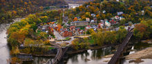 Harpers Ferry, West Virginia, Maryland, Maryland Heights, panoramic, autumn, fall, Potomac River, Shenandoah River, railroad, old, city, town, historic, bernard chen