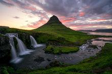 Iceland, Waterfalls, Kirkjufellsfoss, Sunset, Green, Mountains, Stream, Creek, Ocean, Dramatic Clouds, Bernard Chen