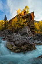 Crystal Mill, Colorado, Spring, waterfall, old structure, marble, mountains, snow, aspen, golden, famous, photos, location, autumn, bernard chen, timescapes