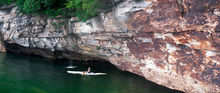 Summersville Lake, West Virginia, Pirate Cove, waterfall, kayaker, cliffs, summer, rock climbing, swimming, panoramic, bernard chen