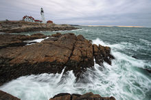 Portland Head Lighthouse, Portland, Maine, ocean, sunrise, waves, crashing, rocks, atlantic, coast, bernard chen, timescapes