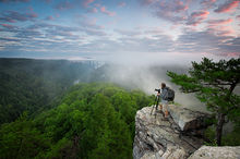 West Virginia, New River Gorge, National Forest, Scenic, Bridge, New River Gorge Bridge, Portrait, Sunrise, Person, Foggy Morning, Foggy, Cliff, Rock Cliff, Bernard Chen