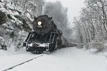 Santa Express, Cumberland, Maryland, train, steam, engine, winter, snow, cold, holiday, railroad, scenic, Frostburg, Western Maryland Railroad, Bernard Chen, Timescapes, Christmas, outdoors, old