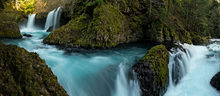 Spirit Falls, Washington, waterfalls, panoramic, glacier, aqua, teal, moss, rocks, spring, nature, natural, landscape, bernard chen
