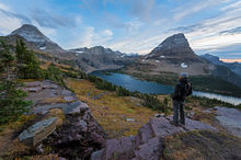 Glacier National Park, Montana, Bernard Chen, Horizontal, Outdoors, Day, Nature, Tranquility, Scenics, Tranquil Scene, Beauty In Nature, Non Urban Scene, Environment, Standing, Side View, Hidden Lake