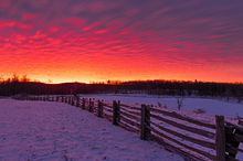 Virginia, Blue Ridge Parkway, Winter, Scene, Sunrise, Dramatic, Sky, Snow, Fence, Farms