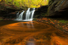 Wyandot Falls, Ricketts Glen State Park, Pennsylvania, waterfalls, long exposure, motion, creak, stream, nature, rocks, autumn, fall, color, season, bernard chen, timescapes