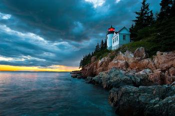 Atlantic, ocean, acadia, national, park, beach, island, bernard chen, timescapes, bass harbor, lighthouse, Mount Desert Island, sunset, dramatic skies