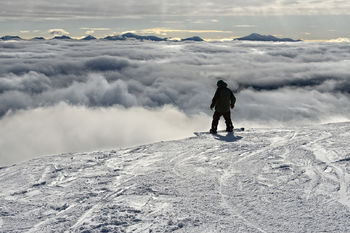 Conquer Your Fears, Whiteface Mountain, New York, lake placid, adirondack, mountain, winter, snow, ski, boarding, sports, clouds, man, resort, inspiration, bernard chen, timescapes