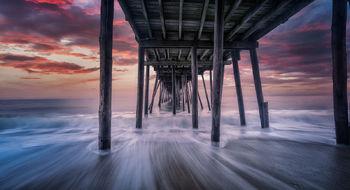 outerbanks, north carolina, beach, avalon, pier, rushing waves, sunrise, landscape, bernard chen, sand, beach, long exposure