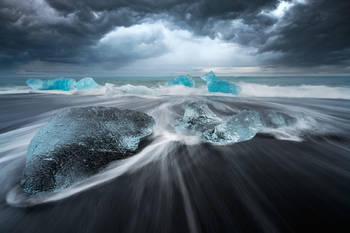 Iceland, Jokulsarlon, Ice Beach, Iceberg, Black Sand, Waves, Motion, Water Motion, Sunset, Cloudy, Bernard Chen, Timescapes