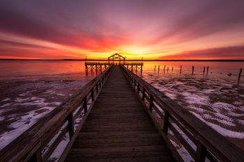 Virginia, Landscape, Winter, Leesylvania, State Park, Prier, Ice, Sunrise, Snow, Frozen, Water, Potomac, River