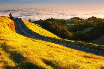 In this Life, Mount Tamalpais, California, pacific, coast, ocean, sunset, golden, biker, sea, grass, peak, marin, landscape, bernard chen, timescapes