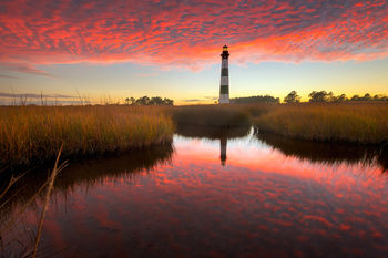 Bodie Island Lighthouse, North Carolina, Sky Fire, Swept Away, Bodie Island Lighthouse, North Carolina, sunset, OBX, Outer Banks, Hatteras Island, Cape Hatteras Seashores, scenic, marsh, dramatic sky