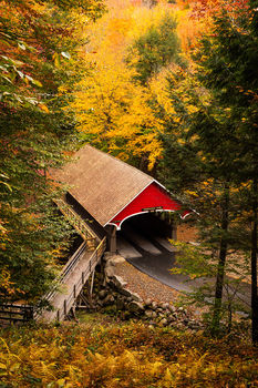 Kancamagus Highway, White Mountains, New Hampshire, Autumn, Bright, Colorful, Leaves, Fall Season, Road, Trees, Bridge, Flume Covered Bridge