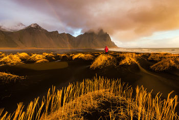 Iceland, Jokulsarlon, Vestrahorn, Ice Beach, Iceberg, Black Sand, Waves, Motion, Water Motion, Sunset, Cloudy, Bernard Chen, Timescapes, Skaftafell Glacier