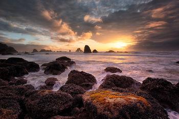 When Skies Speak, Indian Beach, Oregon, sunset, rocky, coastline, ocean, pacific ocean, bernard chen, timescapes