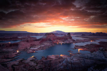 astrom point, utah, desert, lake powell, page, arizona, sunrise, red clouds, bernard chen, landscape photography
