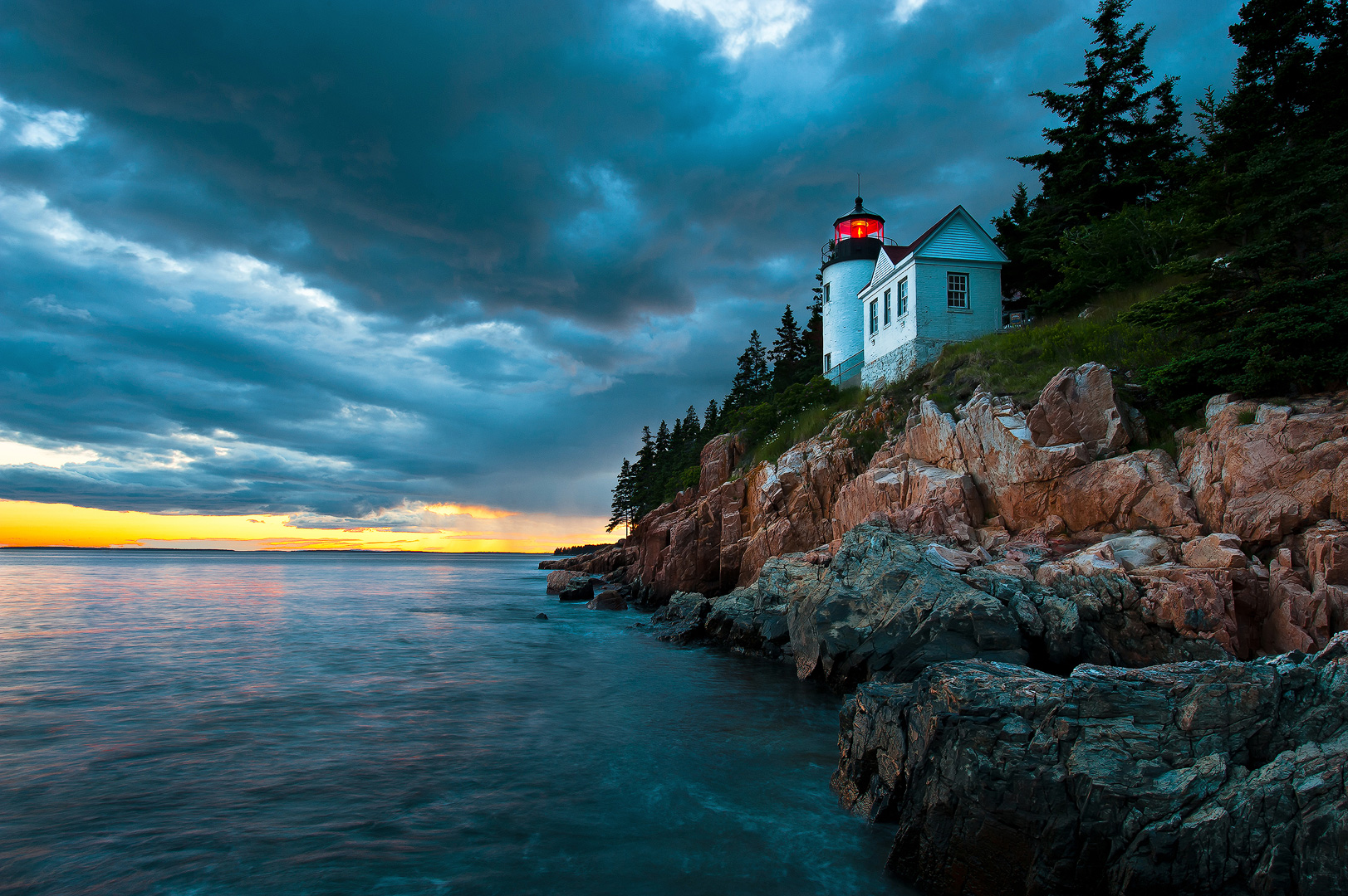 Atlantic, ocean, acadia, national, park, beach, island, bernard chen, timescapes, bass harbor, lighthouse, Mount Desert Island, sunset, dramatic skies, photo