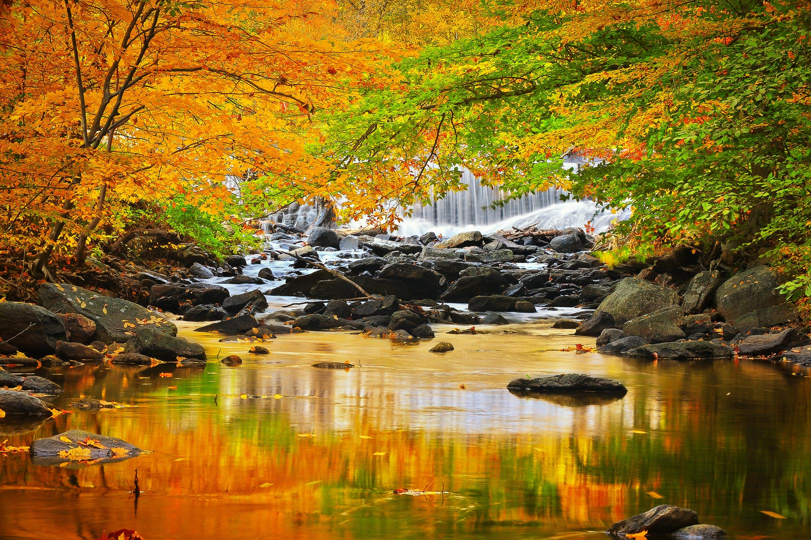 Beautiful capture of fall colors changes at Catoctin Mountain on Big Hunting Creek.