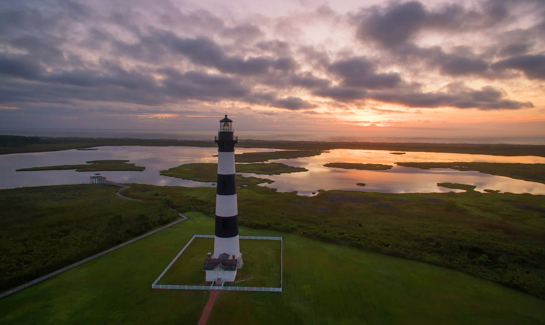 Rising Fire, Bodie Island Lighthouse, North Carolina, Atlantic, ocean, marsh, drone, aerial, photos, dji, phantom 3, bernard chen, timescapes, photo