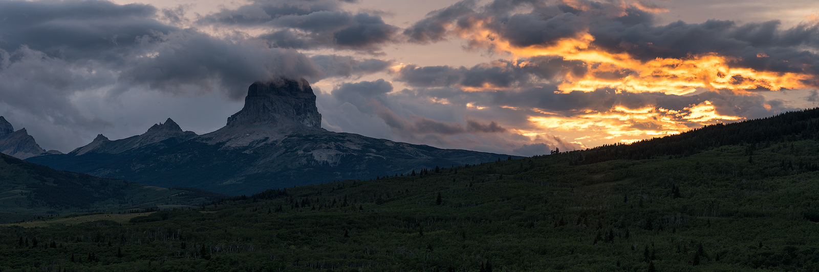 Glacier, Montana, Chief Mountain, Sunset, Dramatic Skies, Bernard Chen, East Glacier, Babb, photo