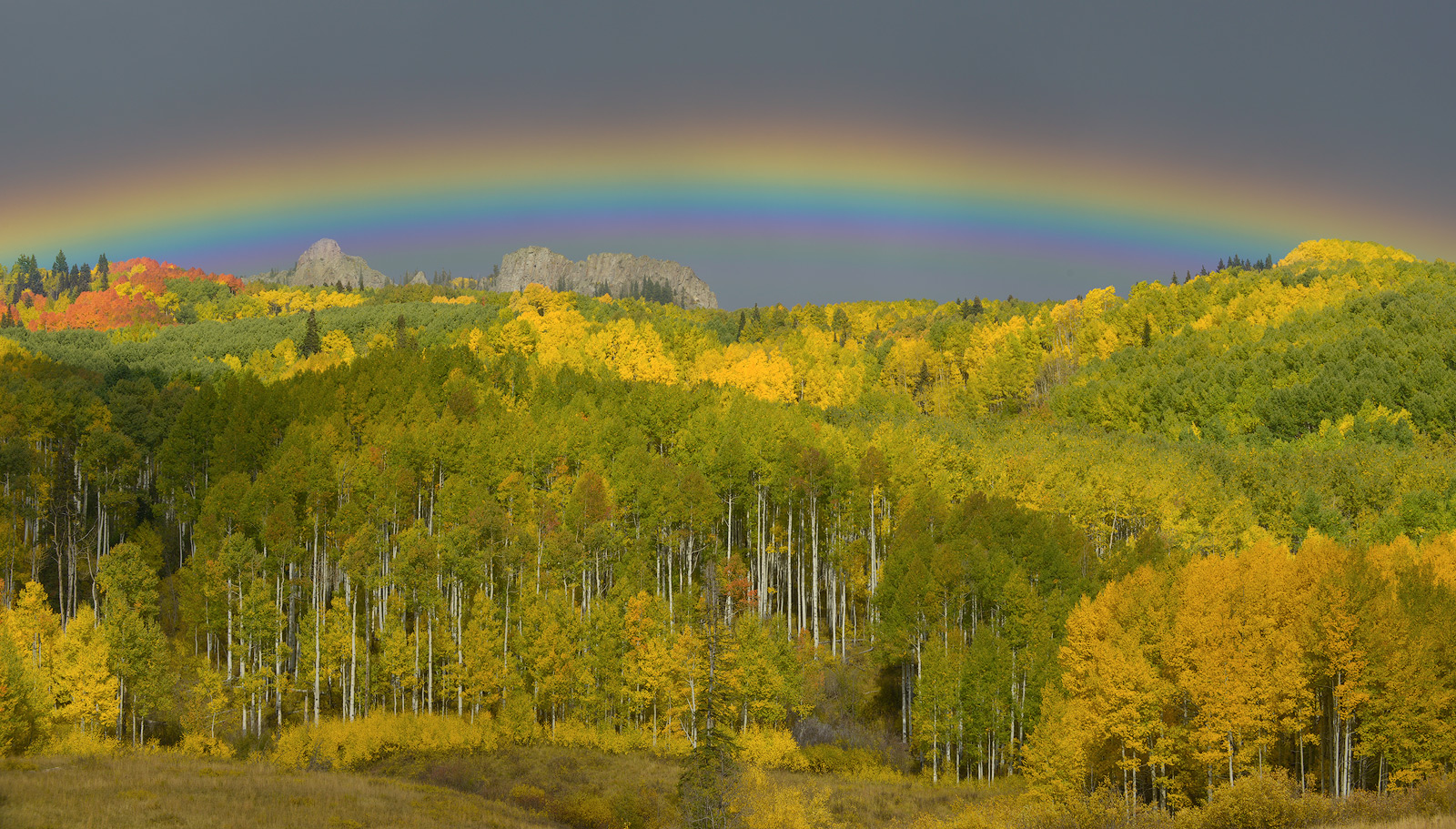 Colorado, Kebler Pass, aspen, autumn, fall, our planet, clouds, bernard chen, timescapes, golden, mountains, rainbow, photo