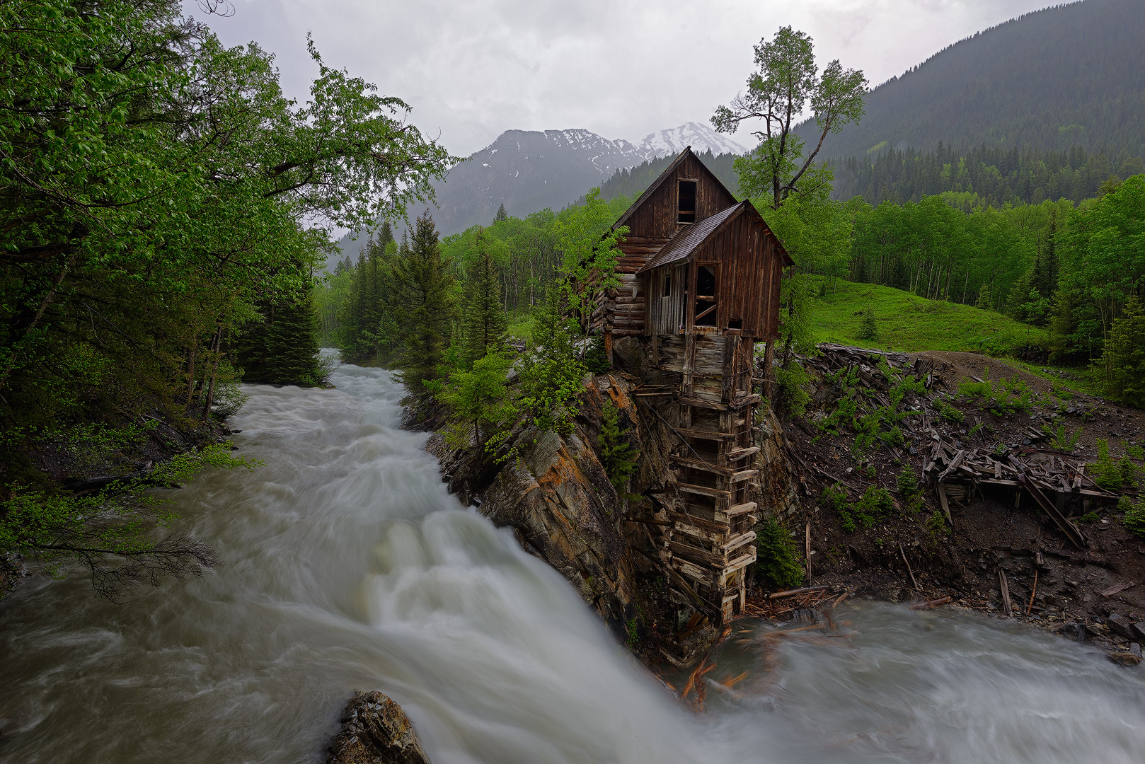 Crystal Mill, Colorado, Spring, waterfall, flooded, old structure, marble, mountains, snow, aspen, green, famous, photos, location, bernard chen, timescapes, photo