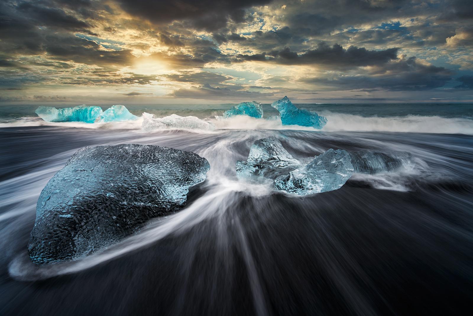 Iceland, Jokulsarlon, Ice Beach, Iceberg, Black Sand, Waves, Motion, Water Motion, Sunset, Cloudy, Bernard Chen, Timescapes