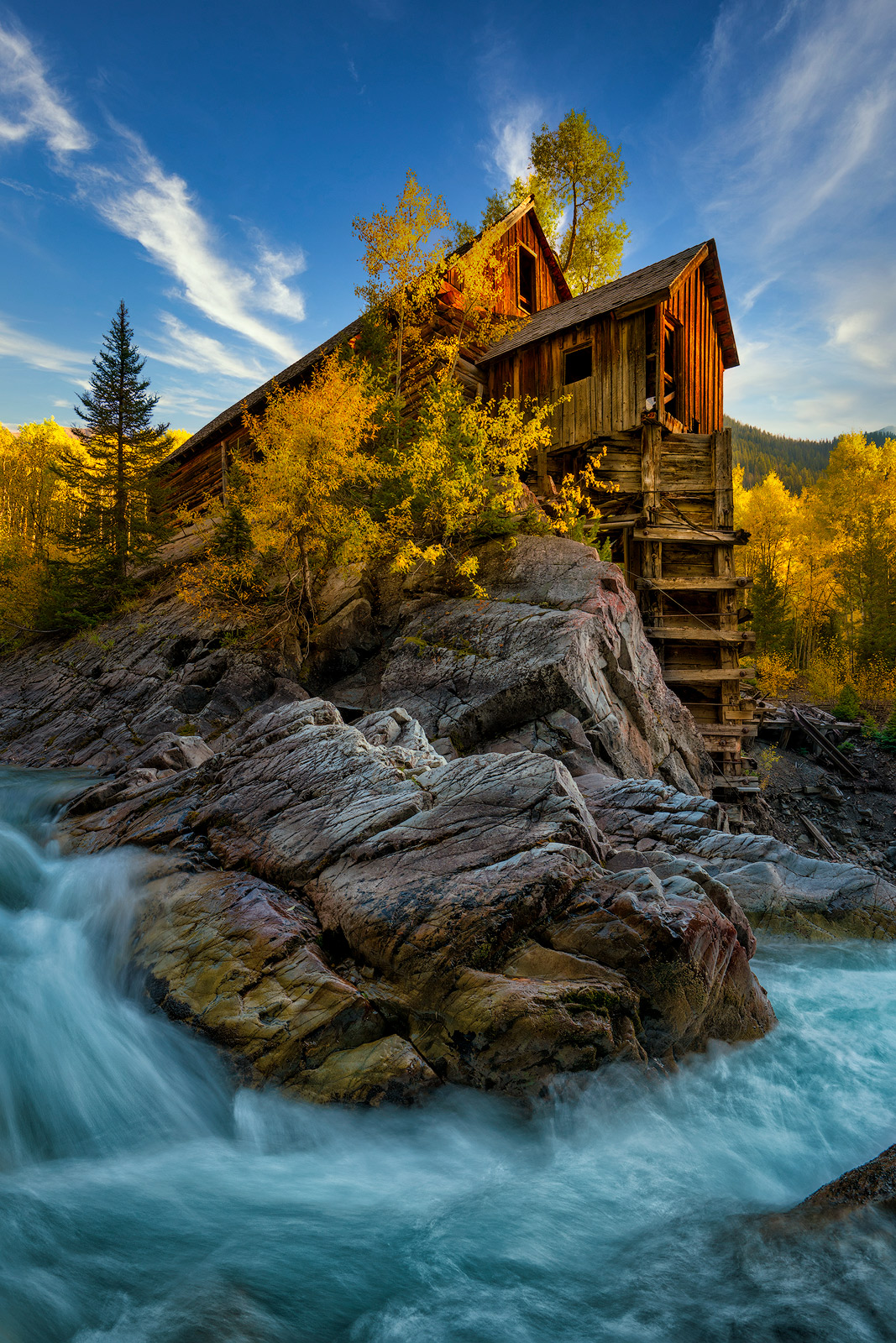 Crystal Mill, Colorado, Spring, waterfall, old structure, marble, mountains, snow, aspen, golden, famous, photos, location, autumn...