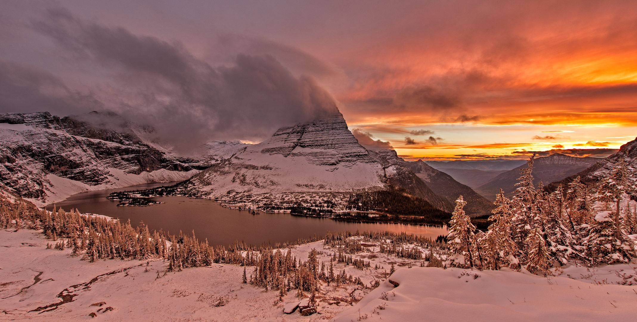 Fireskies, Hidden Lake, Glacier National Park, Montana, Logans Pass, sunset, dramatic colors, dramatic skies, snow, october, bernard chen, timescapes, photo
