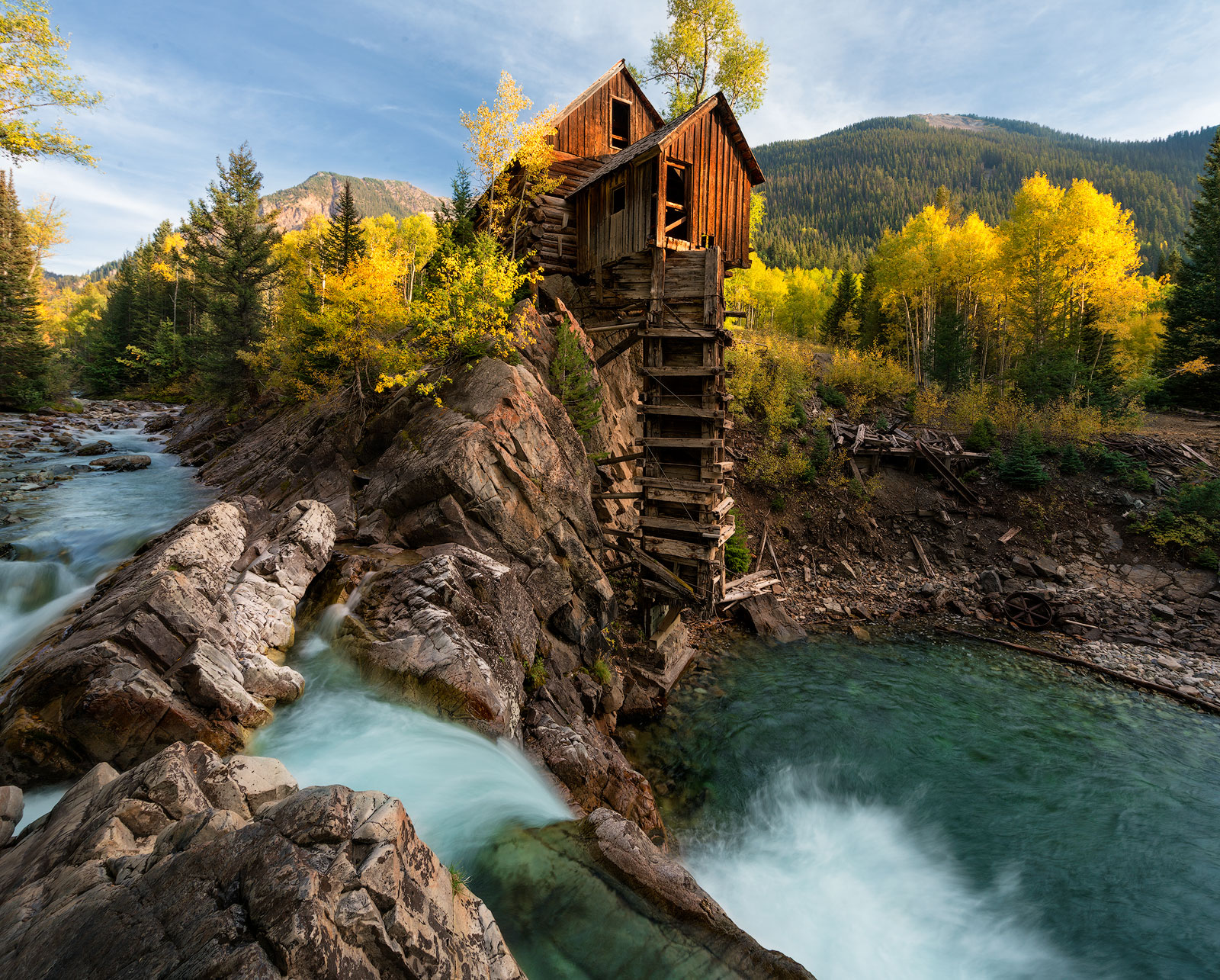 Crystal Mill, Colorado, Spring, waterfall, old structure, marble, mountains, snow, aspen, golden, famous, photos, location, autumn, bernard chen, timescapes, photo