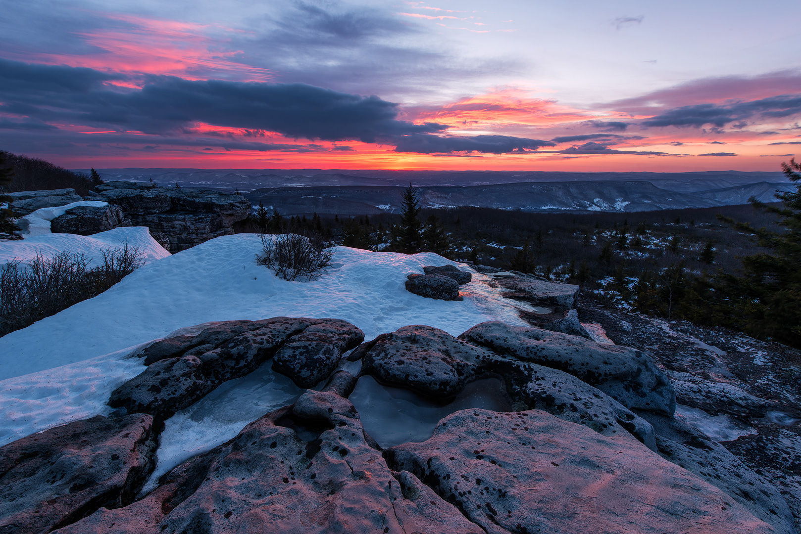 West Virginia, Bear Rocks, Dolly Sods Wilderness, Canaan Valley, Hemlock, Mountain Laurel, Dolly Sods, Allegheny Mountains, Bear Rocks Preserve, Monongahela National Forest, Winter, Snow, Dramatic Sky, photo