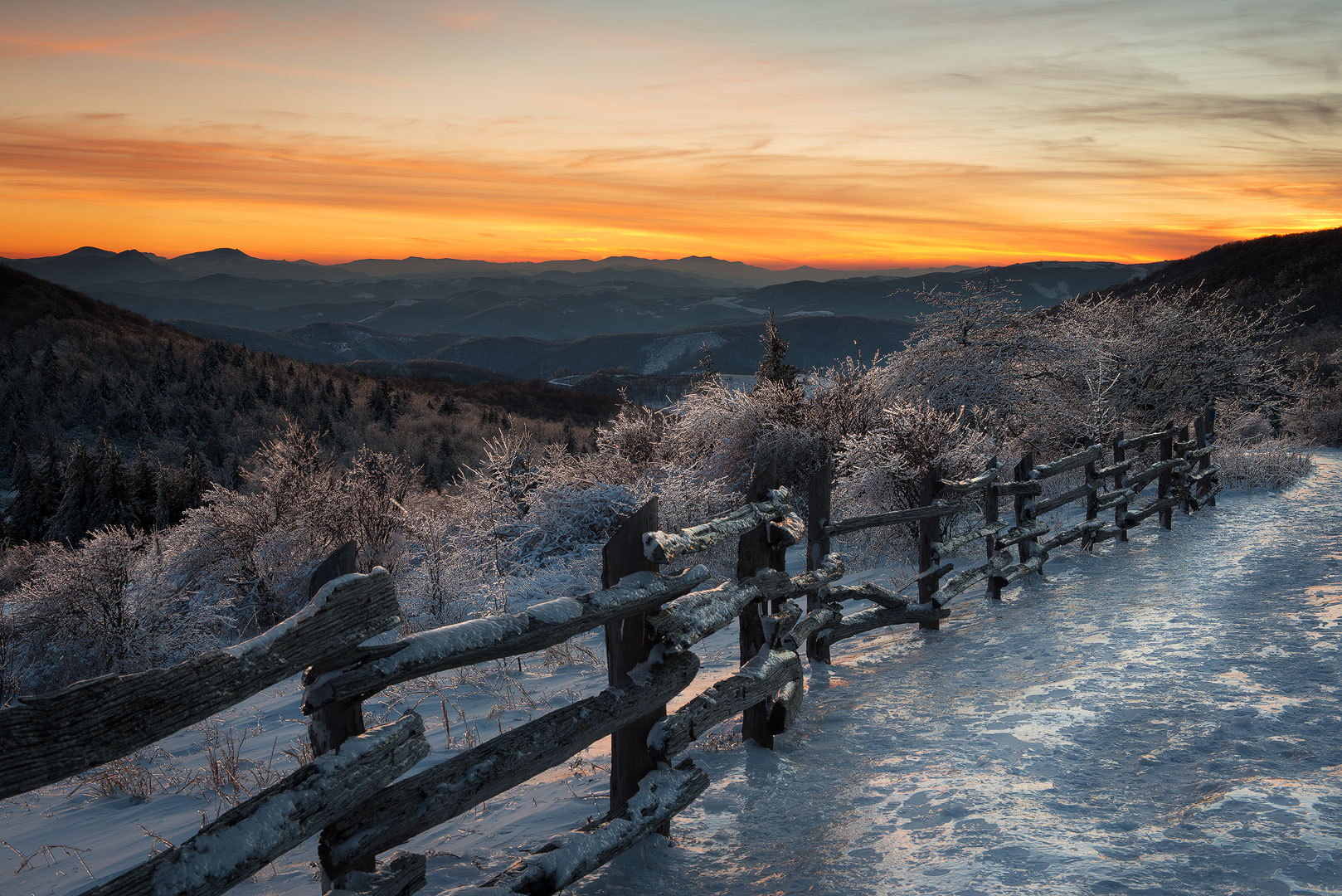Grayson Highlands State Park, Virginia, Winter, Ice, Snow, Sunset, Beautiful Sunset, Colorful Sunset, Freezing, Mount Rogers National Recreation Area, Jefferson National Forest, Mouth of Wilson, photo