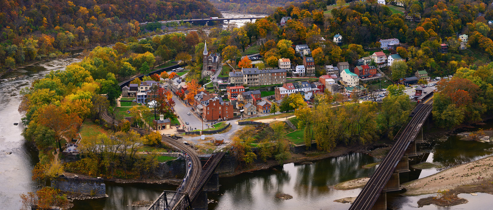 Harpers Ferry, West Virginia, Maryland, Maryland Heights, panoramic, autumn, fall, Potomac River, Shenandoah River, railroad, old, city, town, historic, bernard chen, photo