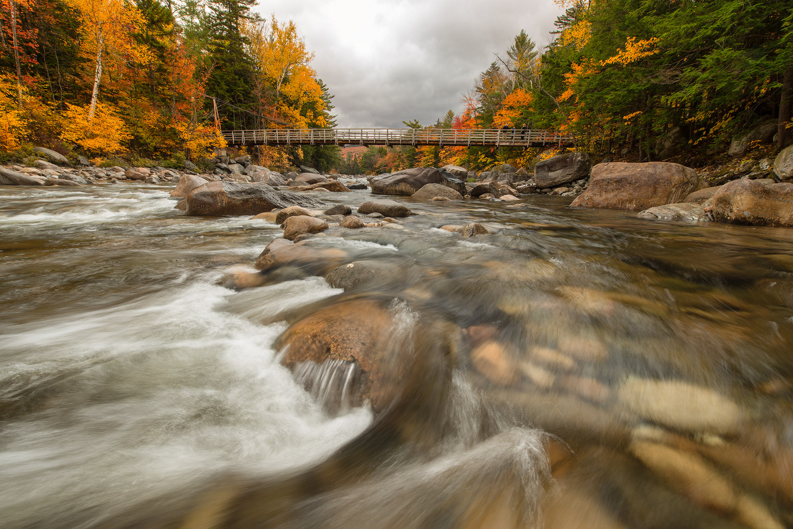 Kancamagus Highway, White Mountains, New Hampshire, Autumn, Bright, Colorful, Leaves, Fall Season, Road, Trees, Bridge, River, Water, Rush, photo