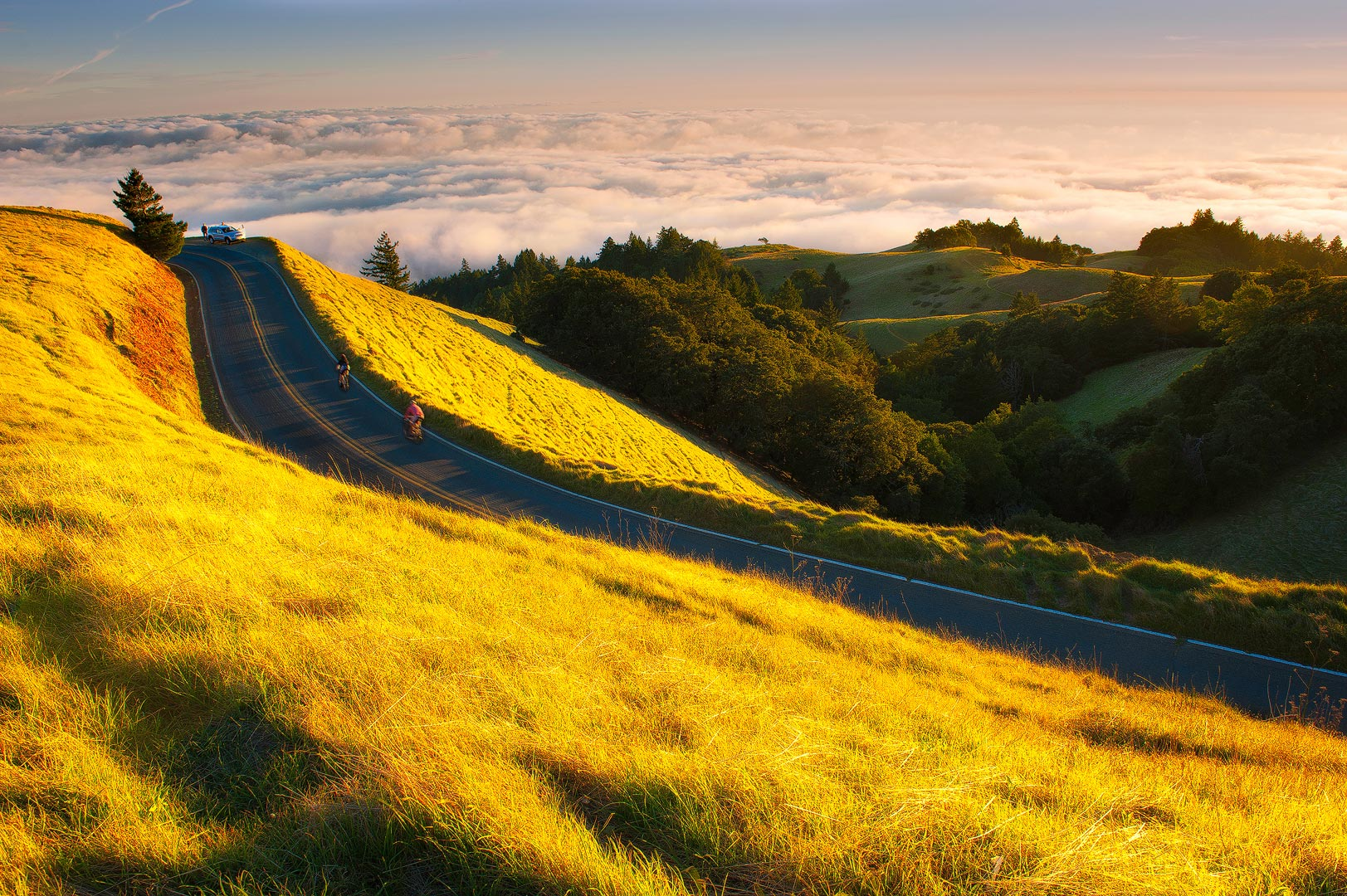In this Life, Mount Tamalpais, California, pacific, coast, ocean, sunset, golden, biker, sea, grass, peak, marin, landscape, bernard chen, timescapes, photo