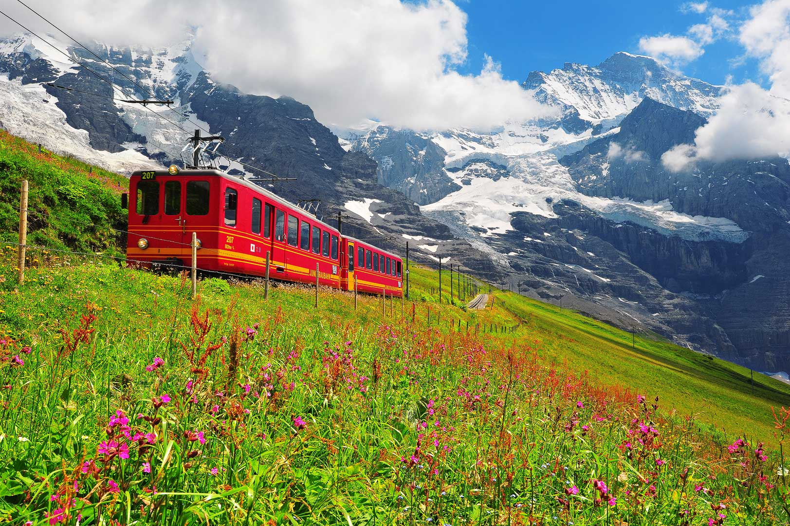 Life So Beautiful, The Alps of Switzerland, swiss alps, mountains, clouds, peak, snow, summer, train, eiger, jungfrau, mittaghorn, monch, flowers, bernard chen, timescapes, photo