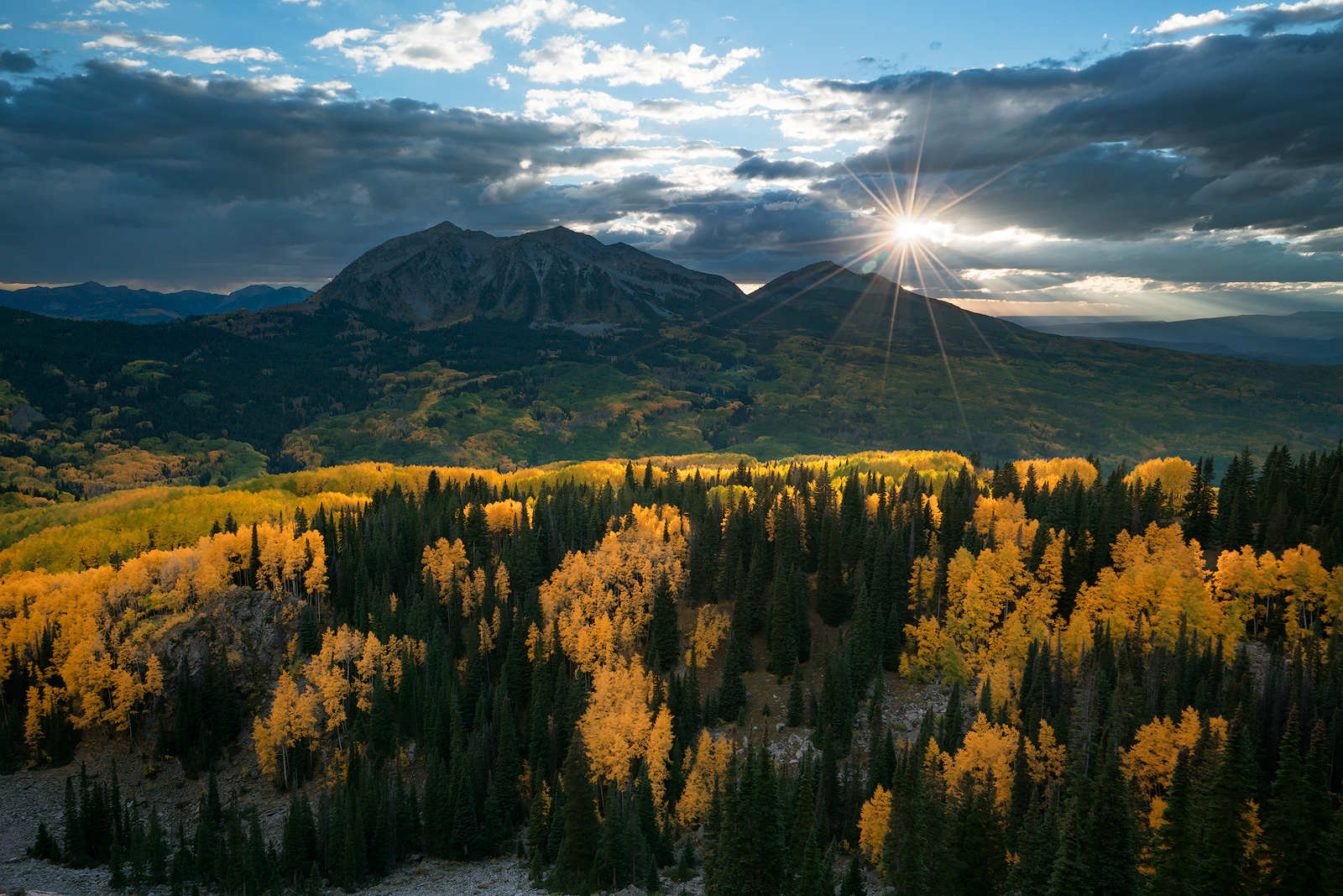 Colorado, Kebler Pass, aspen, autumn, fall, our planet, clouds, bernard chen, timescapes, golden, mountains, photo