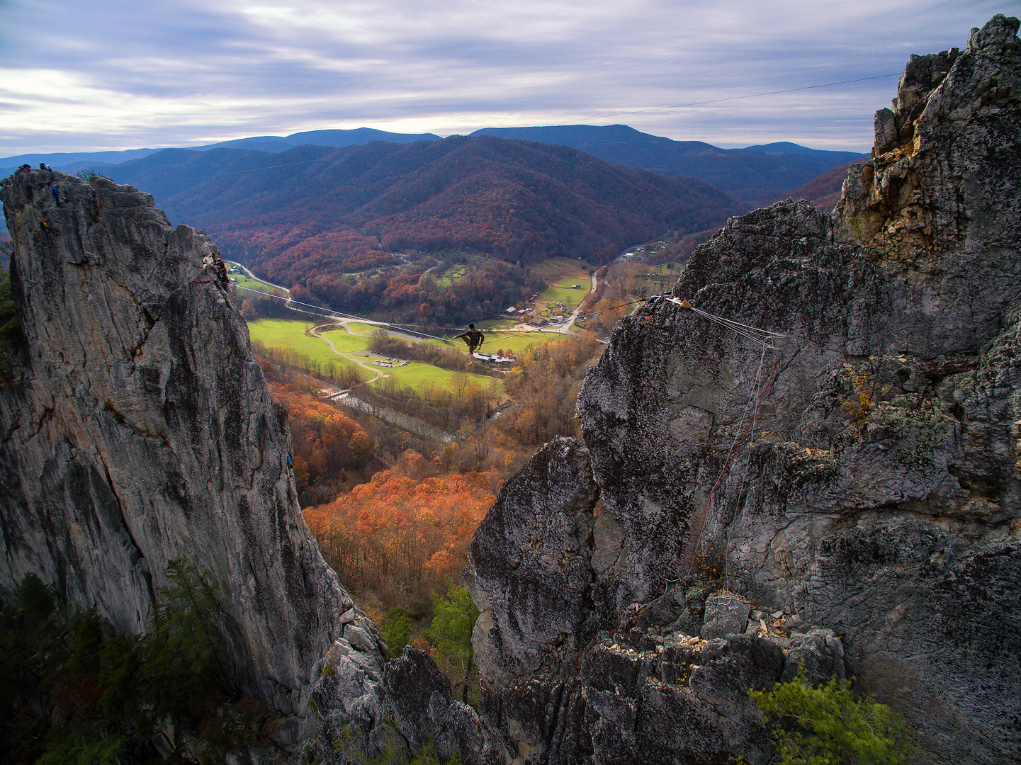 Living on the edge, Seneca Rocks, West Virginia, rock climbing, extreme sports, highline, slackline, aerial image, DJI Phantom 3, drone, photo