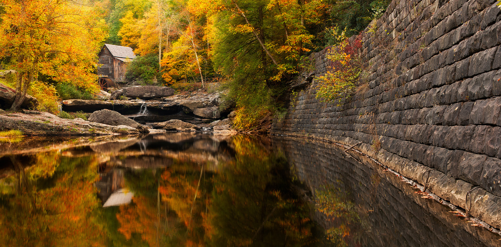 Old Time Fame, Glade Creek Grist Mill, West Virginia, Babcock State Park, panoramic, reflection, solitude, water, waterfalls, old structure, fame, autumn, fall, colors, panoramic, bernard chen, photo