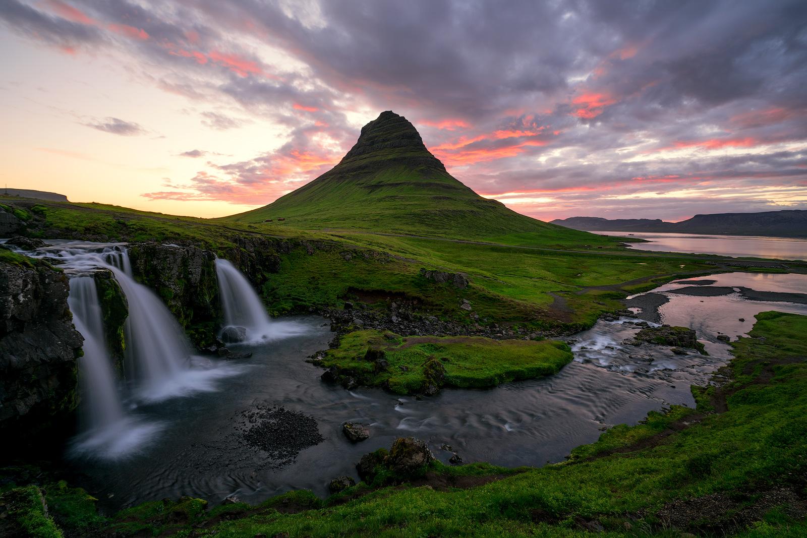 Iceland, Waterfalls, Kirkjufellsfoss, Sunset, Green, Mountains, Stream, Creek, Ocean, Dramatic Clouds, Bernard Chen, photo