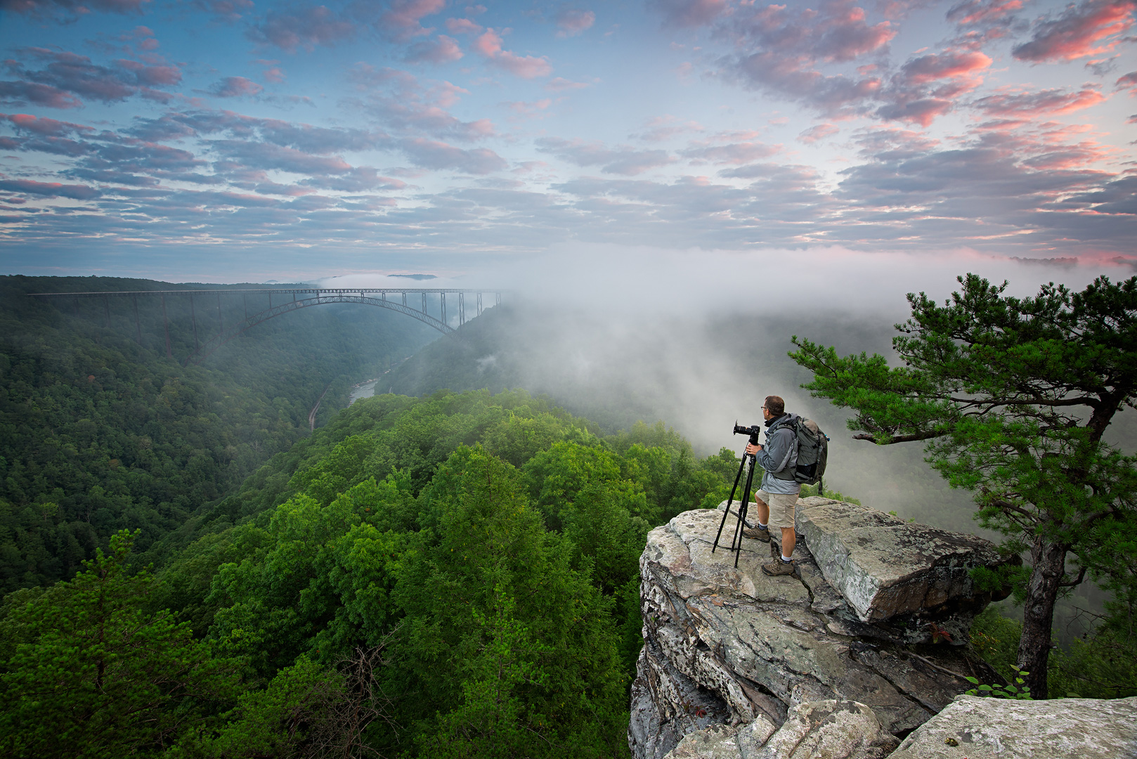 West Virginia, New River Gorge, National Forest, Scenic, Bridge, New River Gorge Bridge, Portrait, Sunrise, Person, Foggy Morning, Foggy, Cliff, Rock Cliff, Bernard Chen, photo