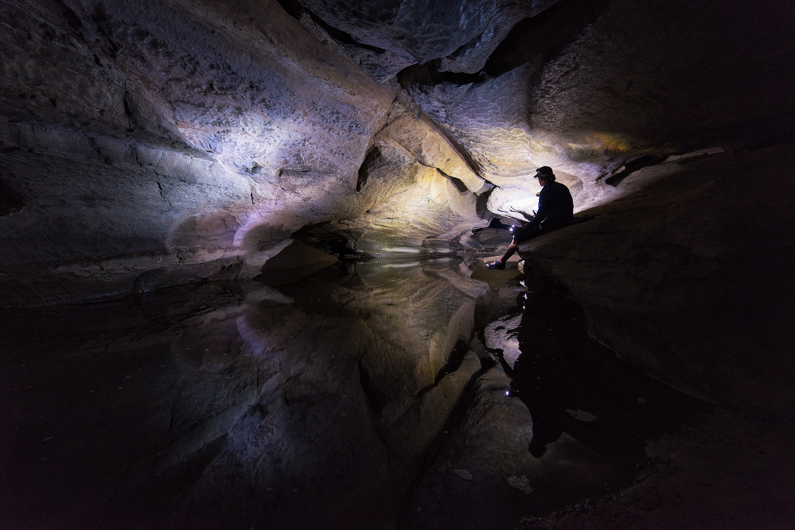Sinks of Gandy, Underground Stream, West Virginia, Randolph County, Cave, Monongahela National Forest, Person, Reflection, Water, photo
