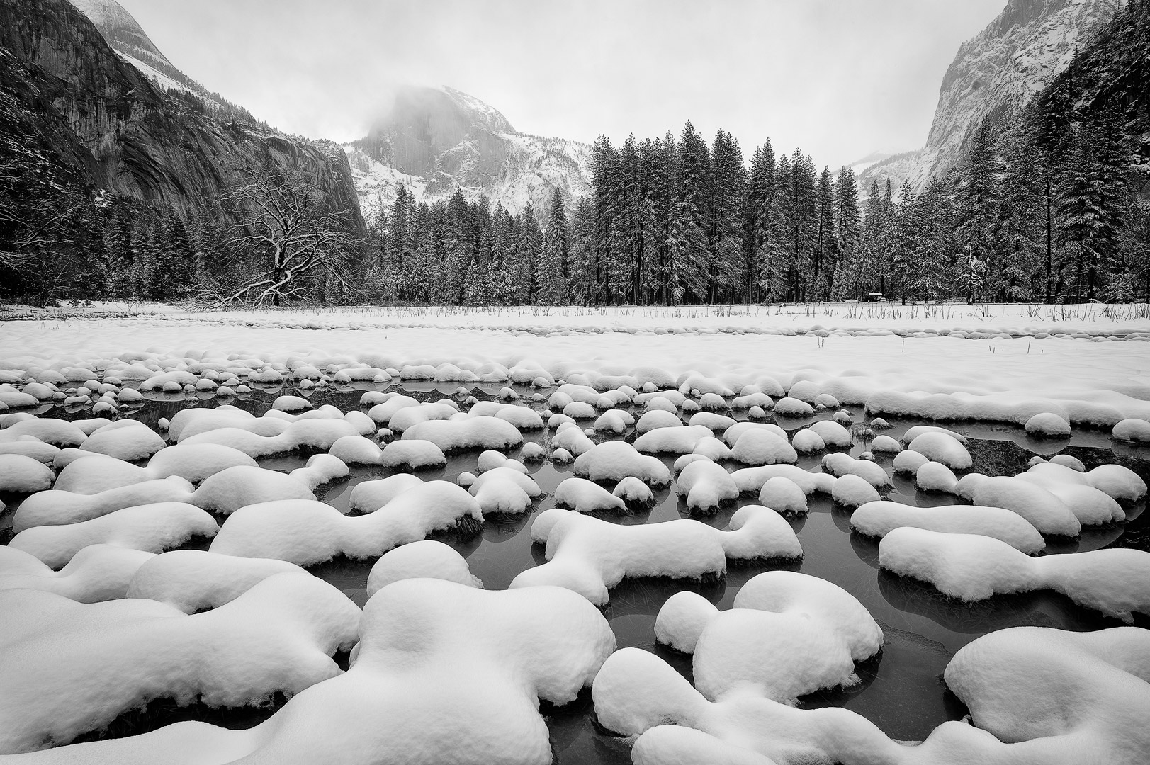 Yosemite, National Park, California, Winter, Landscape, Snow, Mountains, Waterfalls, Rivers, Vista, Iconic, Bridalveil Fall, El Capitan, Half Dome,  Tunnel View, Sequoias, Tuolumne, Mariposa, Glacier,, photo