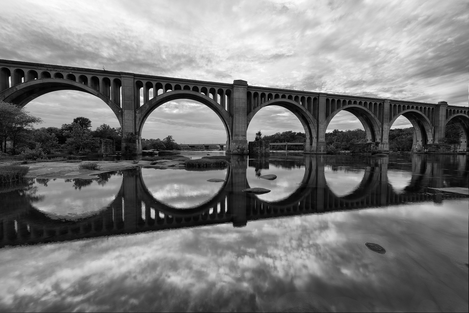 Virginia, Richmond, River, Railroad, Bridge, Black and White, Arch, Reflection, Landscape, photo