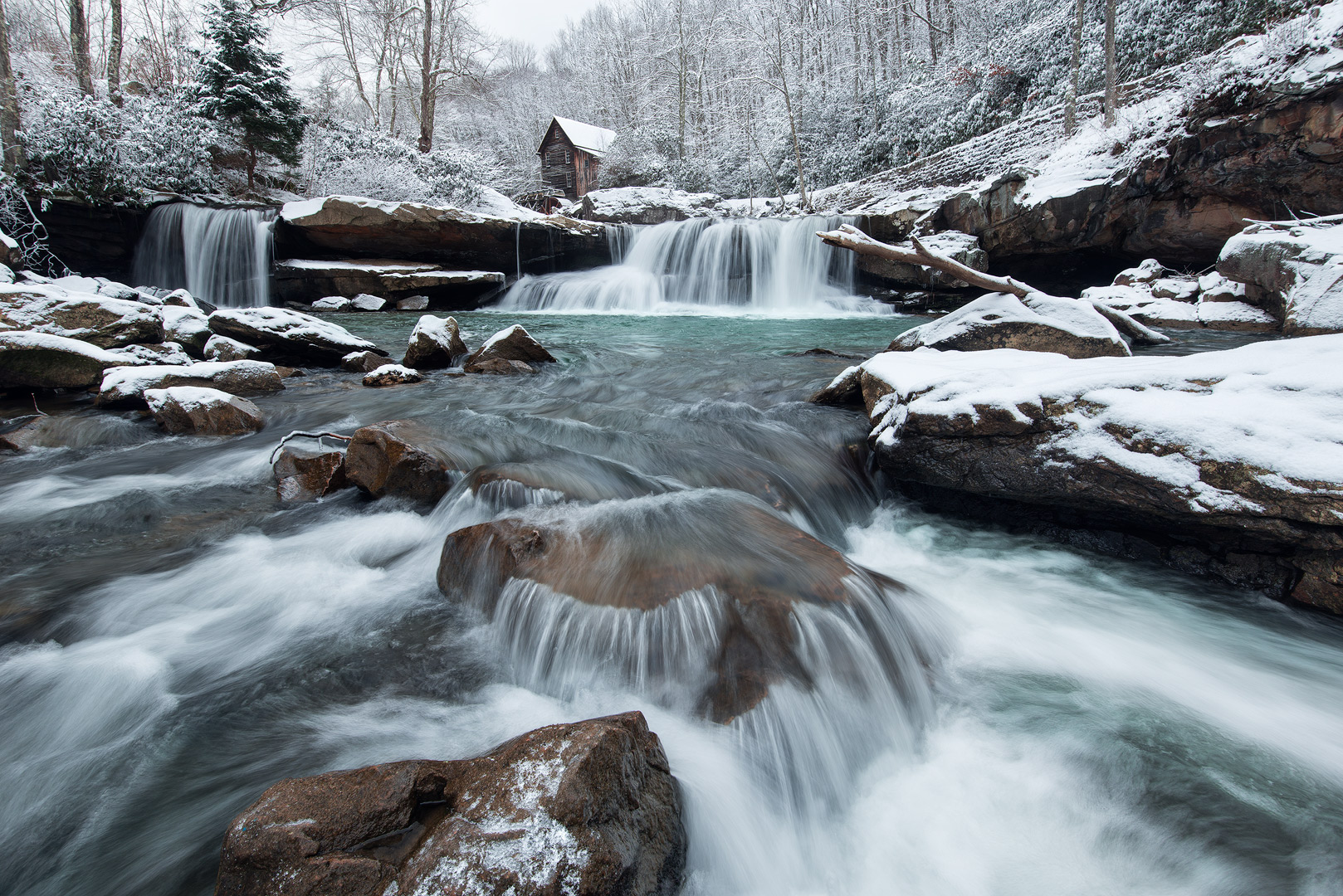 West Virginia, Babcock State Park, Glade Creek Grist Mill, New River Gorge, Babcock, Waterfalls, Cascades, Mill, Winter, Snow, Grist Mill, photo